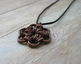 Copper Chainmail Necklace on Black Leather Cord, Chainmaille Jewelry, Copper Jewelry, Chain Mail Pendant, Japanese Flower Necklace
