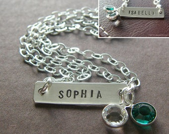 Personalized Bar Bracelet - Custom Hand Stamped Sterling Silver - Double Strand Bar Bracelet (with Optional Double-Side Stamping)