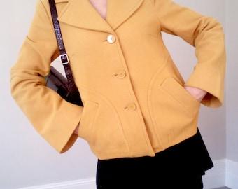 60's style wool mustard coat