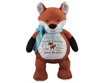 Fox personalized stuffed birth announcement , Embroidered Fox,Plush Fox toy, Fox cuddly animal, Fox baby keepsake gift