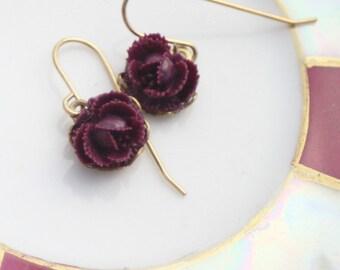 Small Rose Dangle Earrings, Purple Flower Earrings