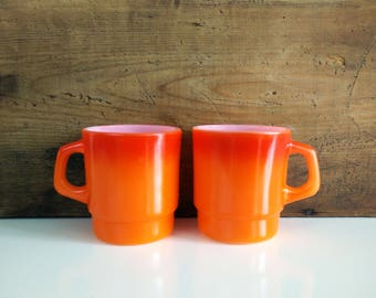 Orange Fire King Mugs / Flameglo Ombre Stackable Fireking Vintage Coffee Cups, Set of 2