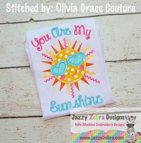 Summer Sun with Sunglasses Applique Embroidery Design - Sun appliqué design - summer appliqué design - girl appliqué design