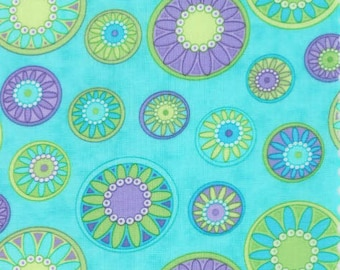 Quilting Cotton fabric   Hi De Ho by Me and My Sister   Floral Flowers Medallions Light Teal Purple 22257 16