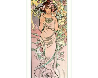 fabric panel - painting by Alphonse Mucha (4). For sewing, patchwork, quilting.