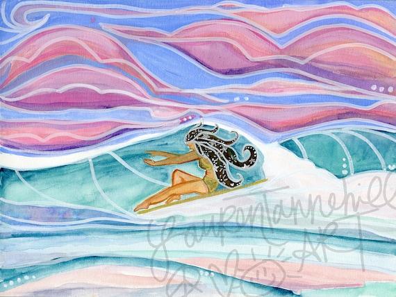 8x10 Giclee Print Cosmic Makala Longboard Lady on Paper by Lauren Tannehill Art