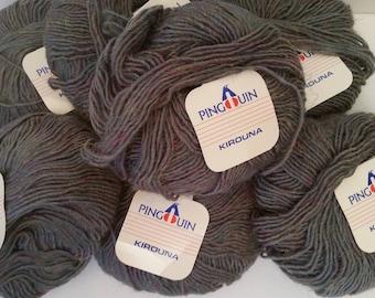 Vintage Pingouin Kirouna Yarn 7 Skeins Wool Blend Gray/Brown 003-611320 Dye Lot Net Wt 1 3/4 oz./50 gr. 132 yds Made in France  1980's