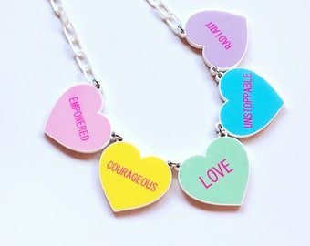 Conversation Candy Heart Necklace