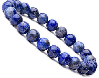 """Unisex Lapis Lazuli Gemstone Stretch Bracelet 7""""- 7.5"""" Available in 8 & 10 mm Round Beads-Suitable For Men  and Women"""