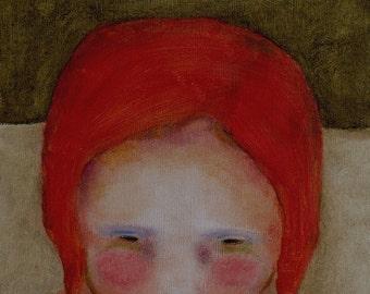 """Giclee print. 13 x 19. wall art girl figure . red head girl portrait.  """"Olive Skies"""""""