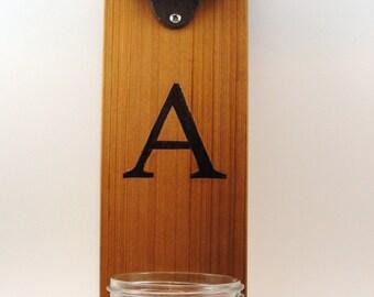 """wall mount bottle opener cast iron cedar mason jar cap catcher initial """"A"""""""