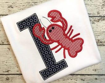 Crawfish Birthday Shirt - Adorable Crawfish with Number - Crawfish Boil Birthday Shirt - Crawfish Birthday Shirt