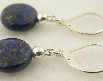 Lapis Lever Back Sterling Silver Earring 47