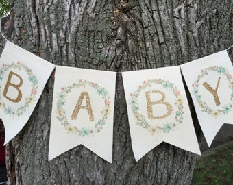 Baby banner, Gold glitter baby shower banner, boho baby decor, photo prop, floral baby shower, welcome baby sign