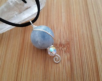 Blue Moon Calcite Sphere Swarovski Crystal bead Wire Wrapped in Silver Wire Parawire  Wrapped Jewelry Handmade Pendant 20mm Gemstone Sphere