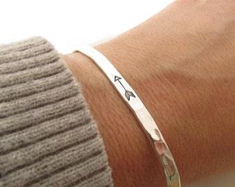 Arrow Bracelet  - sterling silver cuff bracelet  - hand stamped jewelry - skinny cuff - stacking bracelets