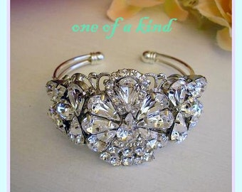 bridal Bracelet, BRIDAL Cuff Bracelet, bridal Accessories , Rhinestone,  Sparkle ,Wedding Bracelet ,Jewelry