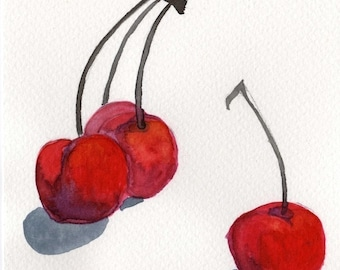 Watercolor Painting: Watercolor Illustration -- Art Print --  Cherries  -- 5x7
