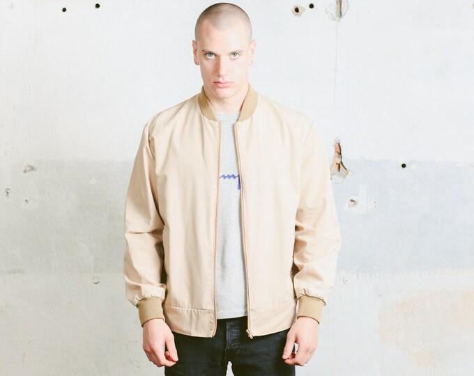 Mens 90s Bomber Jacket . Vintage Beige Spring Jacket Unisex Lightweight Jacket Zip Up Windbreaker Outerwear Boyfriend Gift . size XL