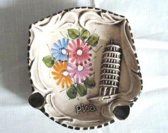 Leaning Tower of Pisa Ceramica Artigiana souvenir ashtray marked C Albani R S Marino