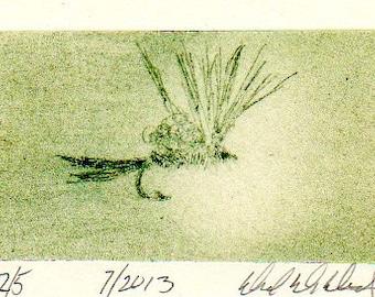 Fishing and Fly Tying Art - Original Art - Drypoint Print - Emerger Fly - Michigan Made - Michigan Artist - Fly Fishing - Black Frame