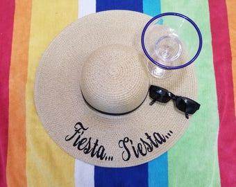 Fiesta Siesta Floppy Hat, Beach Hat, Ladies Sun Hat, Honeymoon Hat, Bachelorette Party, Shower Gift