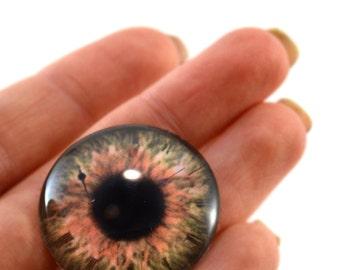 Brown Glass Eye Cabochon 30mm Steampunk Eye for Pendant Jewelry Making or Taxidermy Doll Eyeball Flatback Circle