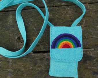 Felt Handbag, Small Purse, Mini Bag, Small Handbag, Cross Body Bag, Embroidered Purse, Rainbow wool felt