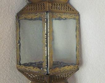 "Vintage Ornate Brass And Glass Hanging Lantern Candle Holder 14""large"