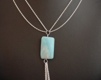 Amazonite and Silver Chain