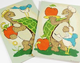 Vintage Paint by Number Turtles - Set of 2 - Nursery Art