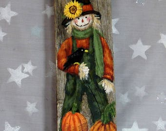 """Pumpkins and Crows, scarecrow, hand painted, authentic barn wood, 3 1/2"""" x 12"""""""