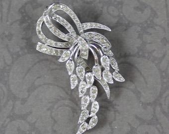 Vintage Silver Leaves Rhinestone Brooch
