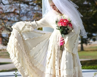 Custom Couture Bridal Wedding Coat- Upcycled Sweater Coat with a Medieval Liripipe Hood and Bell Sleeves by SnugglePants