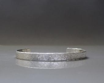 Mens cuff bracelet, Textured silver bracelet, Sterling silver cuff , Mens jewelry