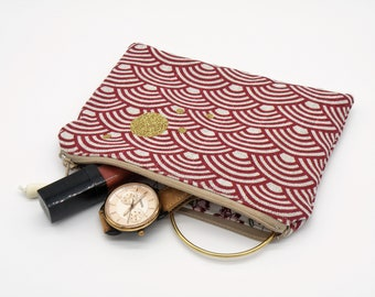 Zippered flat bag, make-up, cotton, red makeup pouch paper storage