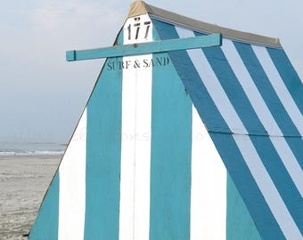 Jersey Shore Beach Photography, Striped Beach Print, Shore Art Striped, Ocean City Wall Decor, OCNJ Art Print, Teal Beach Art,Beach Wall Art