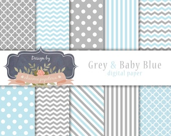 SALE Baby Blue and Grey Digital Paper, Chevrons, Stripes, Polka Dots, Instant Download, Scrapbooking Paper Pack