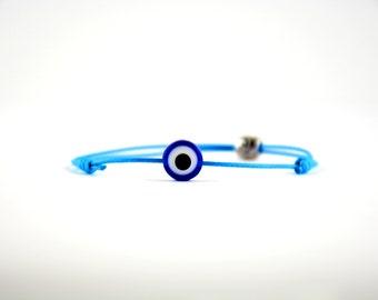 Matimoo Evil Eye Bracelet: Blue Eye on Sky Blue Cord