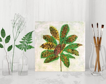 painting and photo collage patterned plant original art ooak croton leaves - australian art, leaf art, acrylic painting, art ready to hang