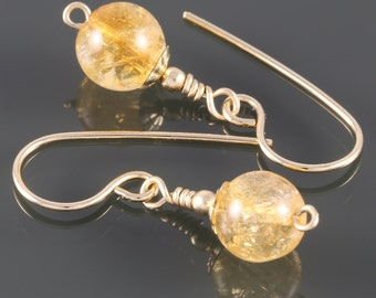 Citrine Earrings. Gold Filled Ear Wires. Genuine Gemstone. November Birthstone. Small Drop Earrings. f16e101