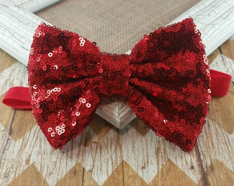 Red sequin bow headband, red bow headband, holiday headband, red sequin headband, girls headband, baby headband, big bow headband, headband