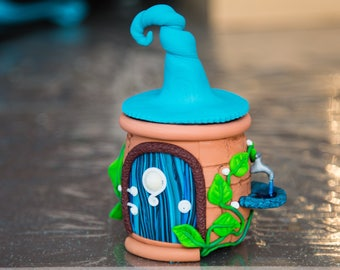 Blue Wizard House with fountain