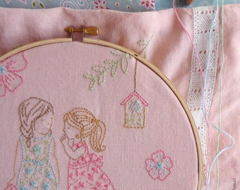 Embroidery Pattern, Needlecraft Design, Instant Download - 2 Girls and a secret