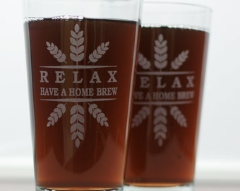 RELAX Have a Homebrew Wheat Crown Set of 2  Home Brew Pints.  glass, logo art, brew art, Beer Glass, Beer Gift, Beer