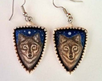 RESERVED  custom wolf scrimshaw technique earrings resin Moosup Valley Designs