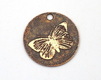 Copper butterfly charm, small flat round handmade etched jewelry supply, 22mm