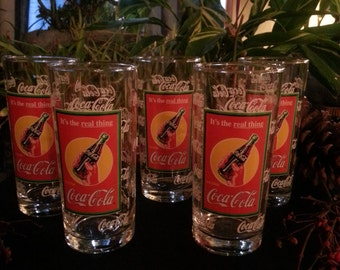 Vintage Coca Cola Heavy Drinking Glasses 1950's (5)