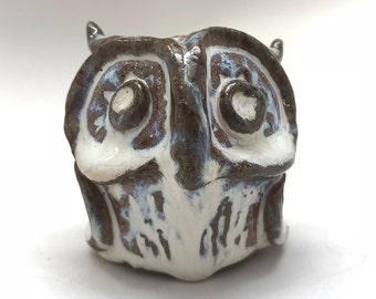 Handmade Owl Rattle in White