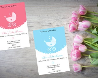 10 Personalised handmade Baby Shower Invites Invitations BS13